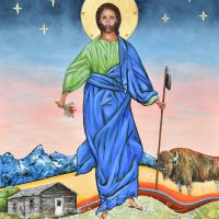 Christ of the Frontier, 24″x 30″, Contemporary Icon Mixed Media with 23 Kt Gold